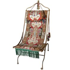 19th Century French Napoleon III campaign folding chair with original upholstery
