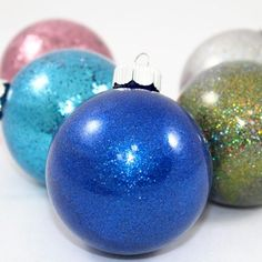 So-Easy 6 Step Pledge Glitter Ornaments — Craft-e-Corner Felt Christmas Decorations, Beaded Christmas Ornaments, Christmas Bulbs, Handmade Ornaments, Winter Decorations, Clear Ornaments, Glitter Ornaments, Painted Ornaments, Decorating Ornaments