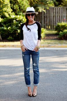 Nine West shoes (similar), Abercrombie jeans, Tobi tee, J.Crew hat, BCBG sunglasses, Lauren Elan Carter and Rhys bracelets, Von Eshna necklace. and just to add it would look more casual if instead of heels have some red vans