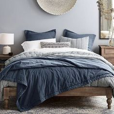 Platform Bed Ideas - Believe platform beds are just for modern-style bedrooms? Success Gallery reveals you platform beds that fit any design bed room. Bedding Master Bedroom, Bedroom Wallpaper, Pink Wallpaper, Bed Sets, Bedroom Colors, Blue Bedroom Decor, White Bedroom, Blue Gray Bedroom, Blue Master Bedroom
