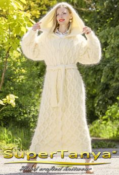 Made to order hand knitted mohair cardigan in ivory by supertanya
