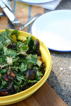 An end of summer salad with roasted eggplant and fresh chard.