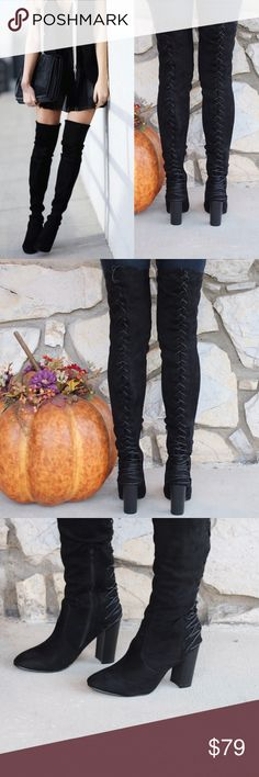 Tall Thigh High Stack Heel Lace Up Boots ⛄️JUST ARRIVED!⛄️Upgrade your simple boots for a subtle and flirty new look!⛄️ Brand New in Box ⛄️All vegan materials ⛄️ 3.25 inch heel ⛄️ Boot is 23 inches tall/26.25 inches tall including the heel ⛄️ Limited Quantities  Feel free to ask questions! Shoes Over the Knee Boots