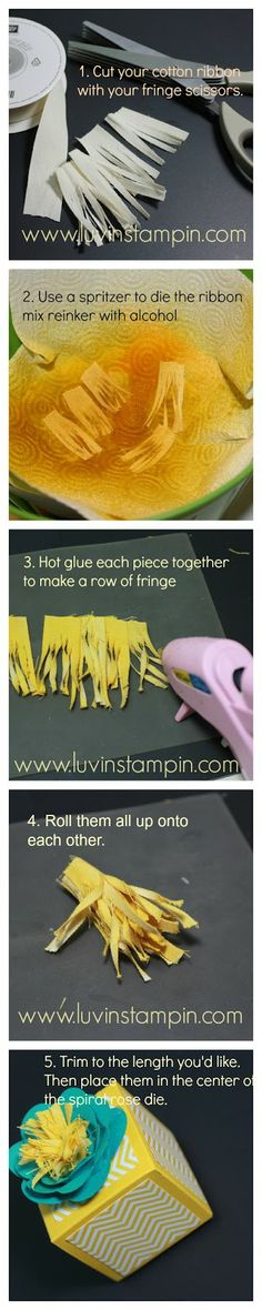How to use Fringe Scissors.  Spiral rose die and fringe scissors to make this flower. How to use Fringe Scissors.  http://www.luvinstampin.com/2014/02/how-to-use-fringe-scissors.html