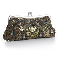 Khaki-olive satin evening bag is adorned with iridescent olive seed beads, bugle beads, sequins & clear gems. This dressy beaded clutch purse with a silver frame & kiss clasp includes detachable silve