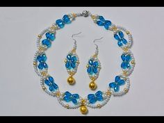 How to Make a Blue and White Beaded Bridal Necklace and Earrings Set - YouTube