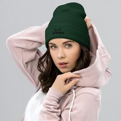 Girl On Purpose, Women Motivational Quotes - Cuffed Beanie - Spruce