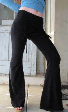 HerbanDevi  Cabaret Yoga Pants Organic Cotton with adjustable foldover skirt
