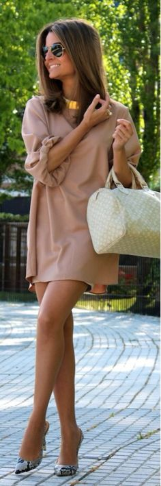 Summer camel dress-blouse n pumps