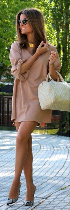 Summer camel dress-blouse n pumps