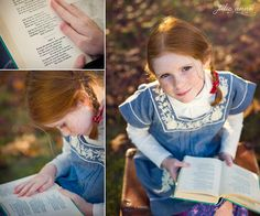 World Book Day : girl dressed as Anne Shirley from Anne of Green Gables reading Tennyson