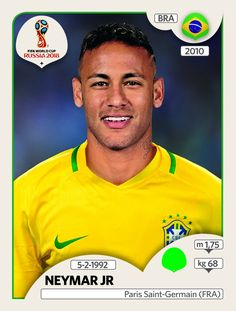 Neymar - Brasil - Panini FIFA world cup Russia 2018 Soccer Cards, Football Cards, Football Players, Football Stickers, Neymar Jr, Uefa Football, Brazil Football Team, Brazil Players, World Cup 2018 Teams