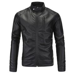 Sale 21% (56.19$) - Mens Plus Size PU Leather Jacket Stand Collar Zipper Solid Color Cool Motorcycle Coat