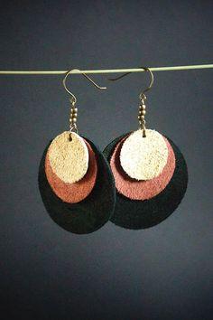 Leather earrings elegant fancy earrings round big suede