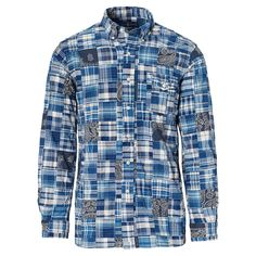 Indigo-dyed plaid patches give this Standard Fit shirt a dose of modern preppy style.