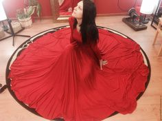 """Купить Платье с юбкой-солнце """"Огненный цветок"""" - ярко-красный, однотонный, платье, вечернее платье"""
