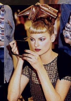 Linda Evangelista backstage for Chloe' 1994