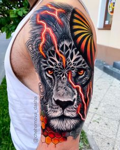 50 Eye-Catching Lion Tattoos That'll Make You Want To Get Inked - Tattoo - Lion Head Tattoos, Leo Tattoos, Tiger Tattoo, Animal Tattoos, Body Art Tattoos, Tattoo Ink, Hand Tattoos, Tatoos, Large Tattoos