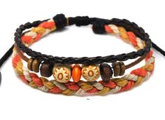 A24 Handmade ORANGE Weave Ethnic Wristband Hemp Bracelet Jewelry WOMEN/MEN`S (on ebay)