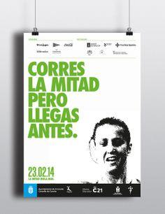 Cartelería Media Maratón Coruña 2014. C21 #design #creatividad #Branding