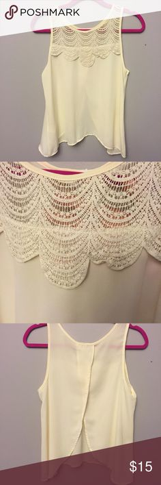 Size S/M open back sheer cream top EUC super feminine size S/M sheer billowy open back top from Francesca's. Cream colored with a lace collar, perfect to tuck into a skirt or flow over shorts. Essential summertime top. Francesca's Collections Tops