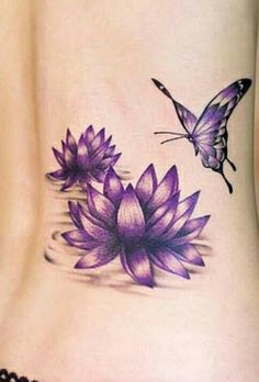 Do you want to know interesting facts about lotus flower tattoos? Read on to know about the best kind of lotus flower tattoo designs. Lotus tattoos are included in the most common tattoo designs those are popular amongst both guys and girls. Purple Lotus Tattoo, Lotus Flower Tattoo Design, Butterfly Tattoo Designs, Purple Butterfly, Purple Tattoos, Butterfly Design, Butterfly On Flower Tattoo, Lotus Tatoos, Lotus Henna