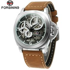 Forsining Brown Leather Automatic Watch