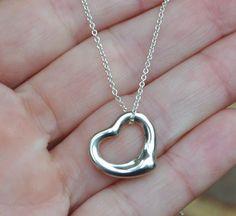 4c8b614dbd For Sale 704-277-4060 · SOLD! Tiffany and Co. Elsa Peretti Small Open Heart  Necklace, 16