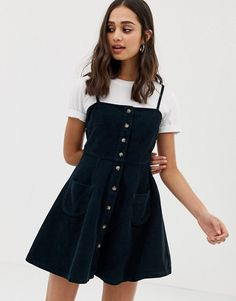 ASOS DESIGN cord button through mini dress in emerald green Source by mslizzieemily Fashion outfits Cute Casual Outfits, Girly Outfits, Retro Outfits, Stylish Outfits, Dress Outfits, Vintage Outfits, Grunge Outfits, Teen Fashion Outfits, Cute Fashion