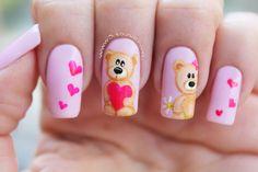 Decoración de uñas san valentin oso - San Valentin nail art