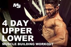 Maximize your gym workout and build more muscle with this 4 day upper/lower bodybuilding split. Reach your muscle building goals with this balanced 4 day training split that mixes heavy compound exercises, machines, cables and incorporates 3 second negatives.