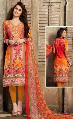 Tangy Orange Casual Churidar Kameez Suit