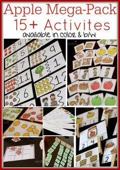 More than 15 apple-themed activities for your preschoolers and kindergarteners! Matching, counting to 10, pre-writing skills, sorting, largest/smallest and so much more! You will definitely want this for your apple unit!