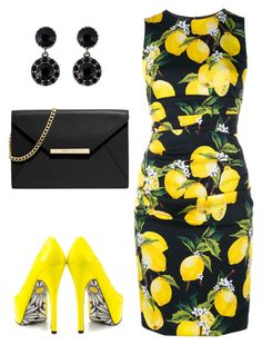 """Oh Yellow!"" by ella178 ❤ liked on Polyvore featuring Dolce&Gabbana, TaylorSays, Givenchy, MICHAEL Michael Kors, yellow, dress and yellowheels"