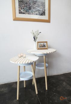 """Those side tables are made with old paint bucket, dowels and a piece of plywood. This is a low cost home made project! [symple_box color=""""gray"""" fade_in=""""false"""" float=""""center"""" text_align=""""left"""" width=""""100%""""] Website: Ohoh blog ! [/symple_box]"""