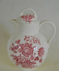 Red Transferware Pitcher Coffee Tea or Hot by EnglishTransferware, $59.99