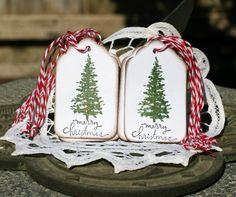 Christmas Gift Tags - Set of 12 Christmas Tree Merry Christmas Hang Tags by designstudioL on Etsy https://www.etsy.com/listing/159639255/christmas-gift-tags-set-of-12-christmas