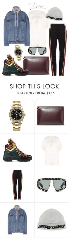 """.... And Realizing Stuff"" by stylinwitdre ❤ liked on Polyvore featuring Rolex, Loewe, Suecomma Bonnie, Vetements, Wales Bonner, Gucci, Off-White, men's fashion and menswear"