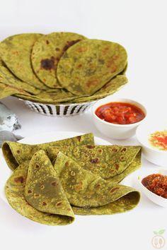 Palak Paratha OR Spinach Paratha - Indian flat bread (roti) prepared ...