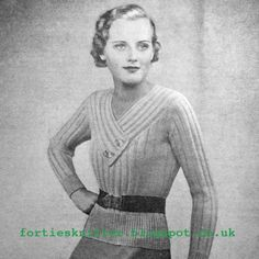 The Vintage Pattern Files: 1930's Knitting - A Simple Jumper