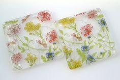 Flower coasters ~ glass coaster glass tea coffee wine glass mats gift for her Mom Mothers Day birthday country garden lover housewarming by BlueBoxStudio on Etsy