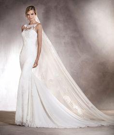 Agata - Vestido de novia con encaje, bordado y escote en espalda