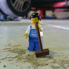 Oh no! #micthemechanic swung into action when he found some dirt on our newly painted floor. #carservice #mechanic #car #minifigures #minifigure #mechanics #lego #logbook #legostagram #legominifigures #legolife by futureautorocklea