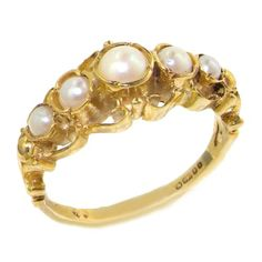 14k Yellow Gold Cultured Pearl Womens Band Ring  Sizes 4 to 12 Available *** Click image to review more details.