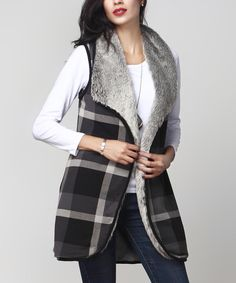 Look at this #zulilyfind! Charcoal Plaid & Faux Fur Lined Vest by Reborn Collection #zulilyfinds
