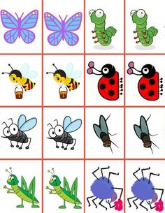 """Memory game """"Insects"""",games for kids,math for kids by Majasonlinedaycare on Etsy Memory Games For Kids, Math For Kids, Insect Games, Learn Math Online, Butterfly Life Cycle, Math Games, In Kindergarten, Learning Activities, How To Memorize Things"""
