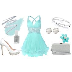 Turquoise & crystals I prefer it long, but I love this! Turquoise Prom Dresses, Modest Homecoming Dresses, Beautiful Outfits, Cute Dresses, Cgi, Fashion Beauty, Dress Up, My Style, Prom 2016
