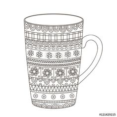 Coffee cup doodle coloring page for adult