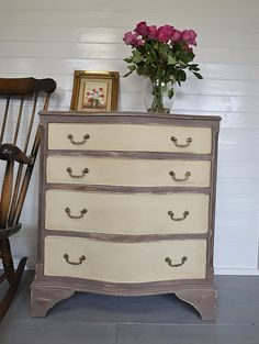 This curve fronted chest of drawers is hand painted in Annie Sloan Coco with Old Ochre drawer fronts. We love the detail on the handles ... just gorgeous!