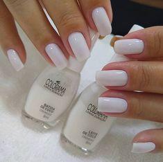 Milky nails, like the length Milky nails, like the length Perfect Nails, Gorgeous Nails, Pretty Nails, Gold Nails, White Nails, Nail Pink, White Manicure, White Nail Polish, Pastel Nails